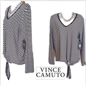 Black White Top VINCE CAMUTO Diagonal Tie Front